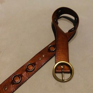 Brass and Brown Leather Belt